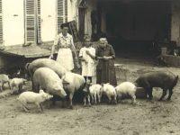 Cortile di Casa Nebiolo con la bisnonna Margherita e la pro zia Alessandra